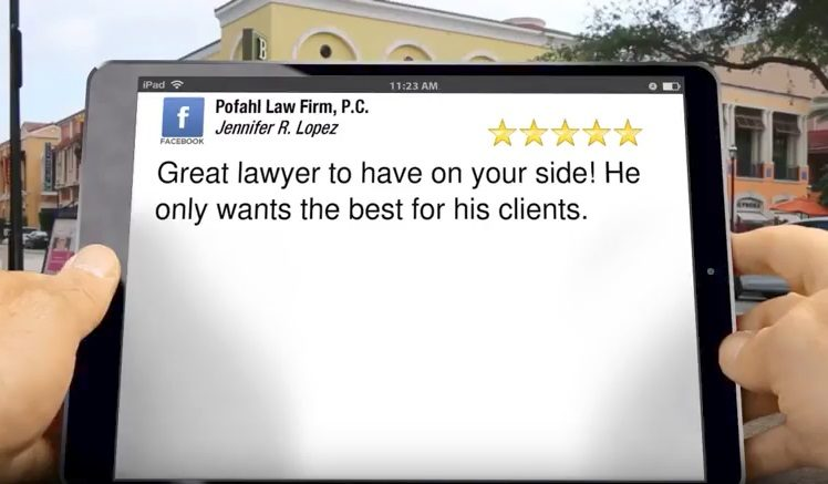 an image of an ipad with a 5 star review of Jennifer Lopez that says Great lawyer to have on your side! He only wants the best for his clients in it.