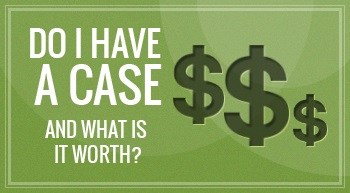 "3 dollar signs along with the header title that says ""Do I Have A Case and What is it Worth?"" with a green colored background and that is discussed by Albuquerque personal injury lawyer."