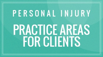 "A header title that says ""Personal Injury Practice Areas For Clients"" having a rectangular teal color and that is used by Albuquerque personal injury lawyer."