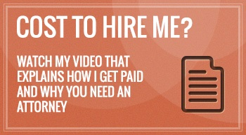 "Small notepad logo indented in right with the header title that says ""Cost To Hire Me? Watch My Video That Explains How I Get Paid and Why You Need an Attorney"" with a brown background and that is discussed by Albuquerque personal injury lawyer."