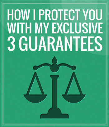 "Animated scales of justice along with the header title that says ""How I Protect You With My Exclusive 3 Guarantees"", with a green colored background and that is used by the Albuquerque personal injury lawyer."